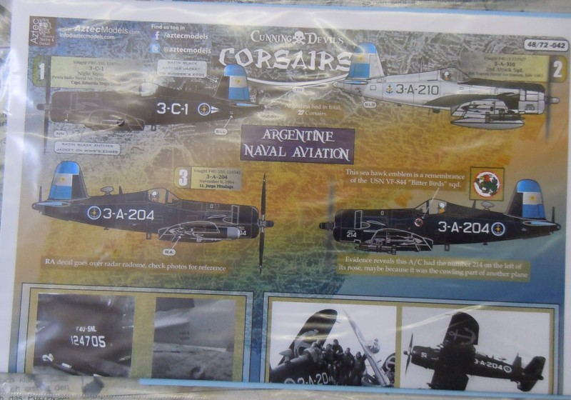 Chance-Vought F4U Corsairs in Argentine Naval Aviation Decals