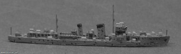Momi class Destroyer Kaki 1945 became training ship Osu. Model and pic by Uwe Hoppe